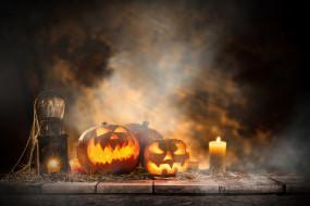 свечи, праздник, тыквы, хэлуин
