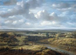 картина, Речной Пейзаж, холст, масло, Филипс Конинк