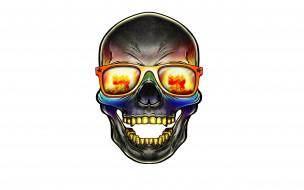 голова, скелет, очки, череп, skull