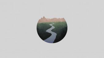 река, лес, горы