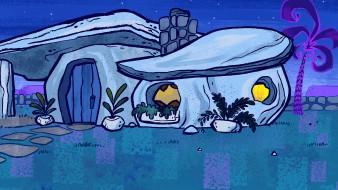 ночь, растения, здание, пальма