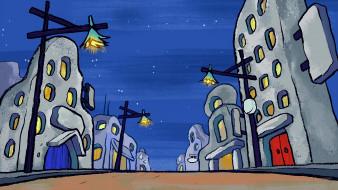 фонарь, ночь, здание, дорога