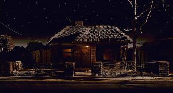 ночь, дерево, дом, забор, дорога