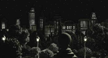 деревья, небоскреб, здание, ночь, фонарь