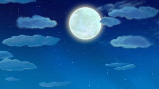 луна, ночь, облака