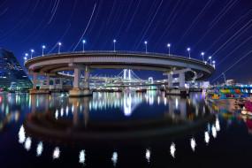 река, мост, ночь, огни