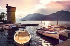 причал, лодки, горы, залив