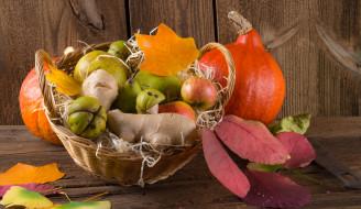 корзина, груши, дары осени, фрукты, листья, яблоки
