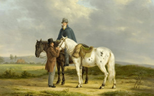 Энтони Оберман, Два Всадника на Фоне Пейзажа, дерево, картина, масло