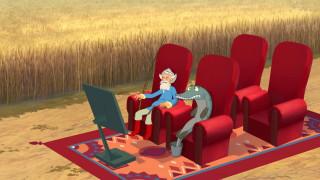 кресло, дедушка, ковер, щука, монитор