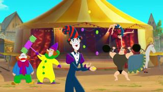 лошадь, цирк, люди, клоун, акробат