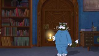 дверь, кот, шкаф, книга, пижама, свеча