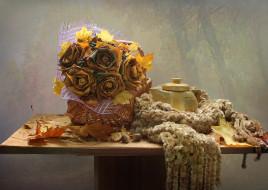 листья, октябрь, осень, чайник, шарф, натюрморт