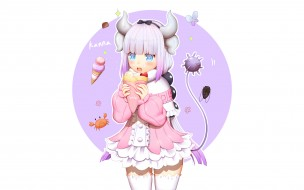 аниме, miss kobayashi`s dragon maid, взгляд, девушка, фон