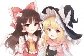 аниме, touhou, взгляд, фон, девушки