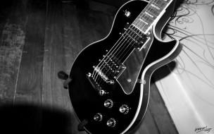 музыка, -музыкальные инструменты, черно-белая, тень, гитара