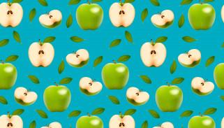 яблоки, плоды, половинки, зеленый