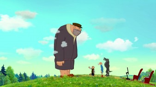 мультфильмы, иван царевич и серый волк 3, великан, люди, волк, облака, кресло, природа
