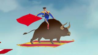 мужчина, бык, флаг, ковер