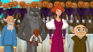 мультфильмы, иван царевич и серый волк 3, девушка, волк, мужчина, тыква, игрушка