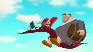 мультфильмы, иван царевич и серый волк 3, ковер, люди, рыба, бочка, полет, облака