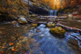 природа, водопады, водопад, поток, листья, лес, осень