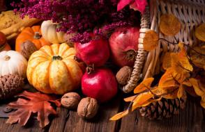 тыква, гранат, осенние дары, орехи, листья