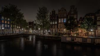 Амстердам, огни, дома, ночь, Нидерланды, канал