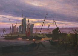 Лодки в Гавани Вечером, парус, морской пейзаж, Каспар Давид Фридрих, картина