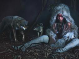 музыка, rihanna, сапоги, ночь, мех, звери, волки, певица, рианна