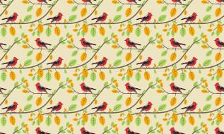 ветки, птицы