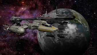 вселенная, полет, галактика, космический корабль