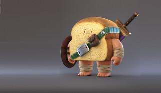 арт, рендеринг, воин, настроение, меч, Zhang Chi, хлеб, Bread Warrior