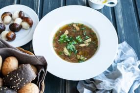первое блюдо, суп, еда, грибы