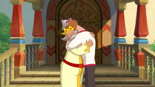 мультфильмы, иван царевич и серый волк 3, крыльцо, эмоции, парень, дедушка