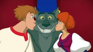 мультфильмы, иван царевич и серый волк 3, поцелуй, улыбка, волк, девушка, парень