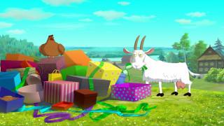 мультфильмы, иван царевич и серый волк 3, коробка, коза, изба, природа, курица