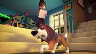 ozzy, мультфильмы, женщина, собака, поза, ступени, комната