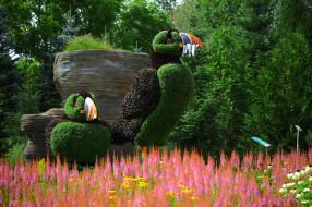 птицы, природа, цветы, тупики, скульптура, парк