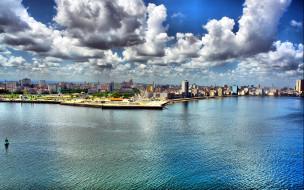 города, гавана , куба, набережная, залив, облака