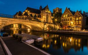 огни, вечер, мост, канал
