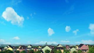 деревья, дом, облака