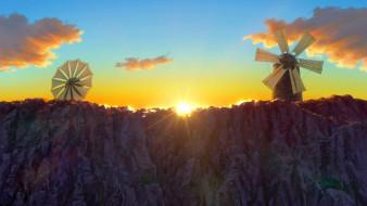 восход, мельница, гора