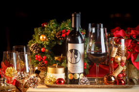 праздник, игрушки, бокалы, новый год, вино