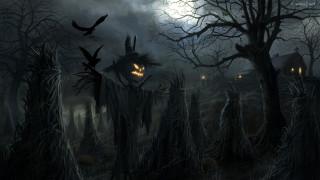 Halloween, field, spooky, ravens, barn, sheaves, scarecrow, night, house, holiday, moon, pumpkin, scary