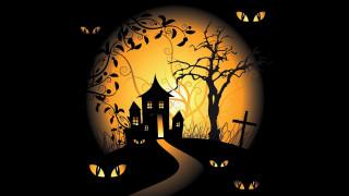 graveyards, spooky, scary house, vector art, black background, holiday, vector, Halloween, moon, eyes, trees