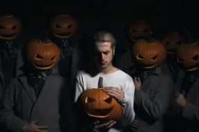 люди, Halloween, тыквы