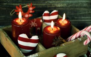 фигурка, свечи, олень, огоньки