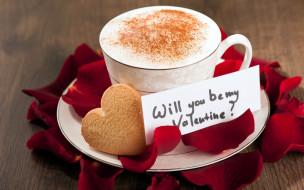 сердечко, печенье, надпись, кофе, лепестки, капучино