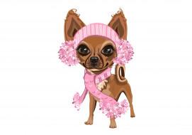 розовый шарф, белый фон, собачка, девочка